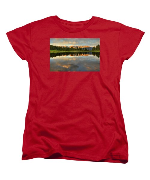 Little Molas Lake At Sunset Women's T-Shirt (Standard Cut) by Alan Vance Ley
