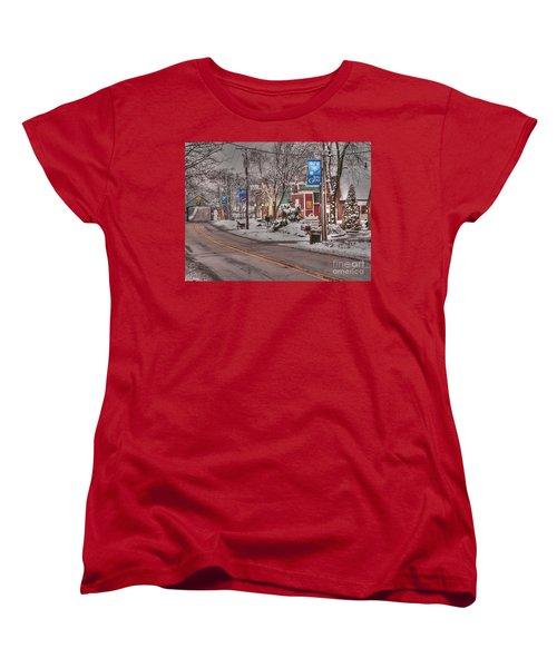 Long Grove In Snow Women's T-Shirt (Standard Cut) by David Bearden