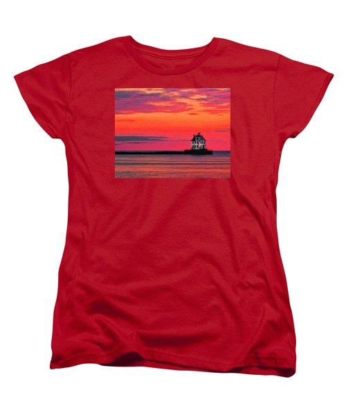 Lorain Lighthouse At Sunset Women's T-Shirt (Standard Cut) by Michael Pickett