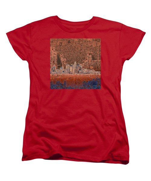 Los Angeles Skyline Abstract 7 Women's T-Shirt (Standard Cut) by Bekim Art