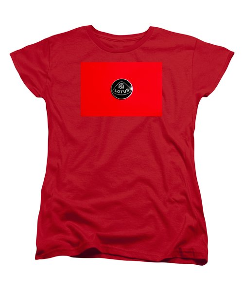 Vintage Car Women's T-Shirt (Standard Cut) featuring the photograph Lotus Badge by Aaron Berg