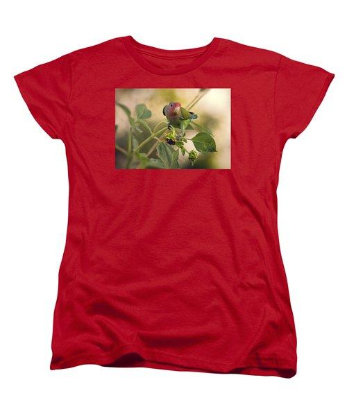 Lovebird On  Sunflower Branch  Women's T-Shirt (Standard Cut) by Saija  Lehtonen