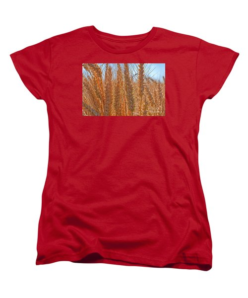 Women's T-Shirt (Standard Cut) featuring the photograph Macro Of Wheat Art Prints by Valerie Garner
