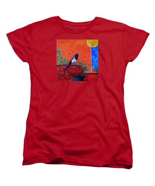 Magpie Singing At The Bath Women's T-Shirt (Standard Cut) by Xueling Zou