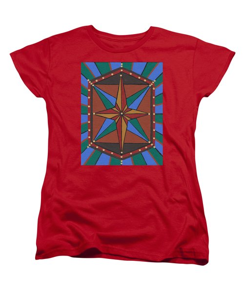 Women's T-Shirt (Standard Cut) featuring the painting Mariner Rose by Barbara St Jean