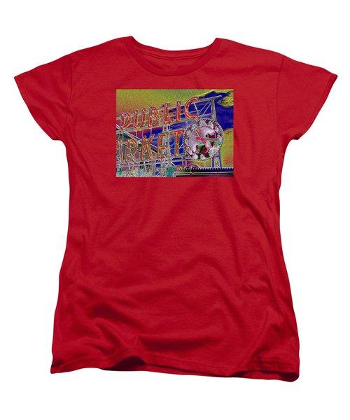 Market Clock 1 Women's T-Shirt (Standard Cut) by Tim Allen