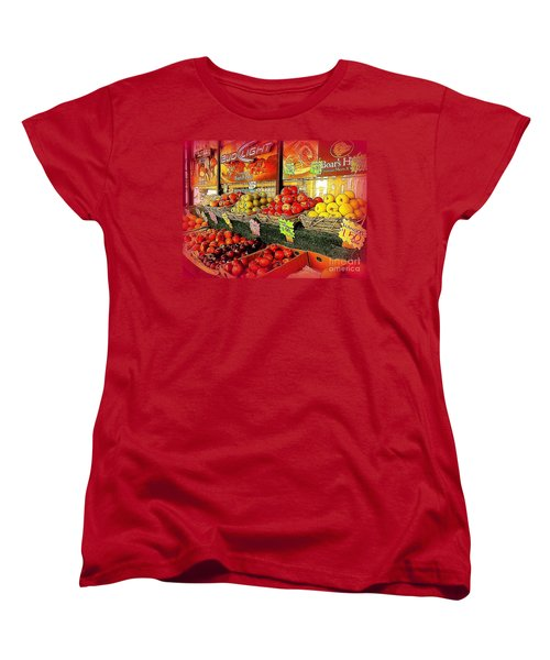 Women's T-Shirt (Standard Cut) featuring the photograph Apples And Plums In Red - Outdoor Markets Of New York City by Miriam Danar