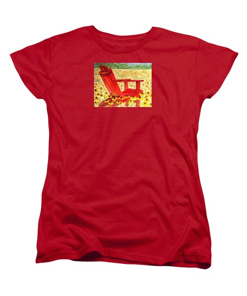 Women's T-Shirt (Standard Cut) featuring the painting Meet Me In The Meadow by Angela Davies