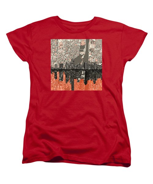 Miami Skyline Abstract 2 Women's T-Shirt (Standard Cut) by Bekim Art