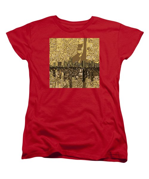 Miami Skyline Abstract 6 Women's T-Shirt (Standard Cut) by Bekim Art