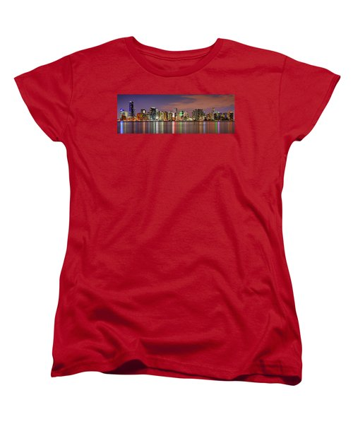 Miami Skyline At Dusk Sunset Panorama Women's T-Shirt (Standard Cut) by Jon Holiday