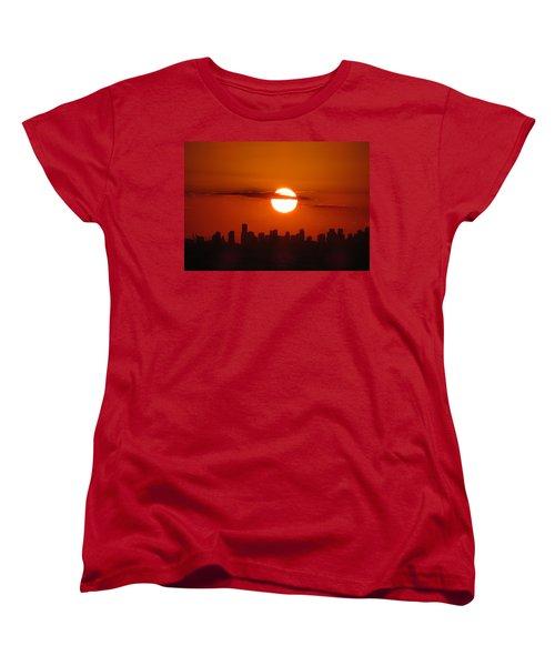 Women's T-Shirt (Standard Cut) featuring the photograph Miami Sunset by Jennifer Wheatley Wolf