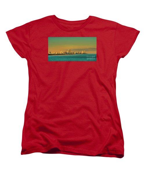 Miami Sunset Women's T-Shirt (Standard Cut) by Olga Hamilton