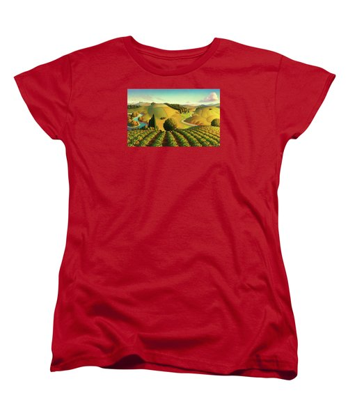 Women's T-Shirt (Standard Cut) featuring the painting Midwest Vineyard by Robin Moline