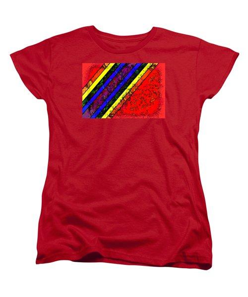 Women's T-Shirt (Standard Cut) featuring the digital art Mingling Stripes by Bartz Johnson