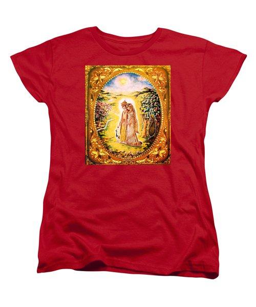 Women's T-Shirt (Standard Cut) featuring the mixed media Miniature Rukmini-krishna  by Ananda Vdovic
