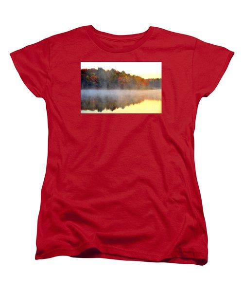 Misty Morning At Stoneledge Lake Women's T-Shirt (Standard Cut) by Terri Gostola