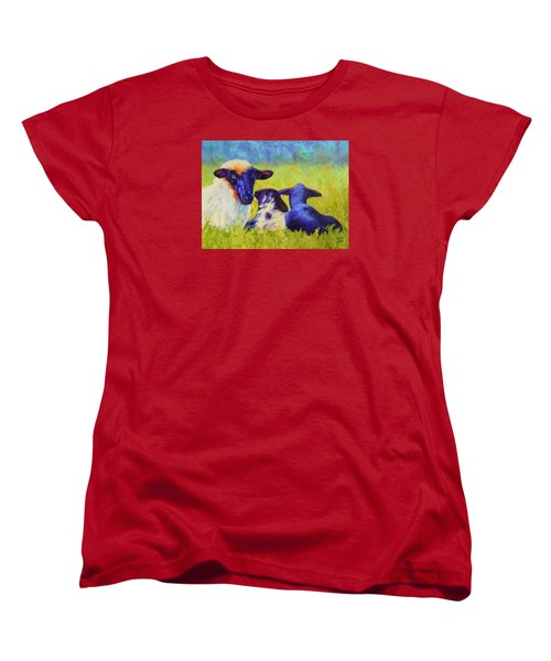 Women's T-Shirt (Standard Cut) featuring the painting Mom And The Kids by Nancy Jolley