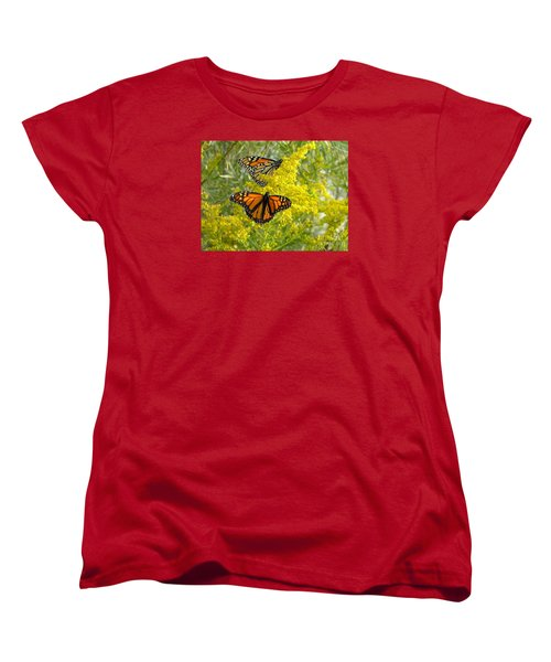 Monarchs On Goldenrod Women's T-Shirt (Standard Cut) by Susan  Dimitrakopoulos
