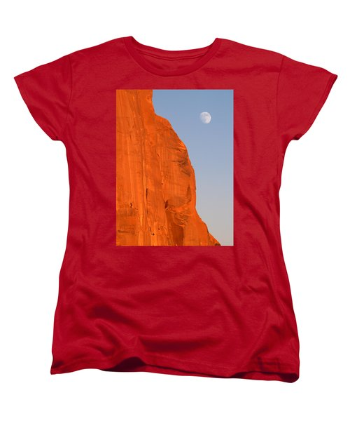 Moon At Monument Valley Women's T-Shirt (Standard Cut) by Jeff Brunton