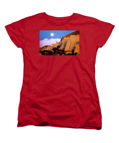 Moonrise Over The Kaiparowits Plateau Utah Women's T-Shirt (Standard Cut) by Ed  Riche