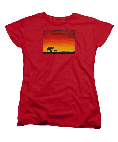Women's T-Shirt (Standard Cut) featuring the painting Mother Africa 1 by Michael Cross