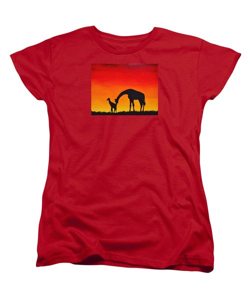 Women's T-Shirt (Standard Cut) featuring the painting Mother Africa 2 by Michael Cross