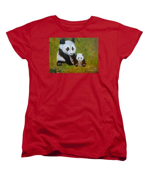 Women's T-Shirt (Standard Cut) featuring the painting Mother And Baby Panda by Jenny Lee