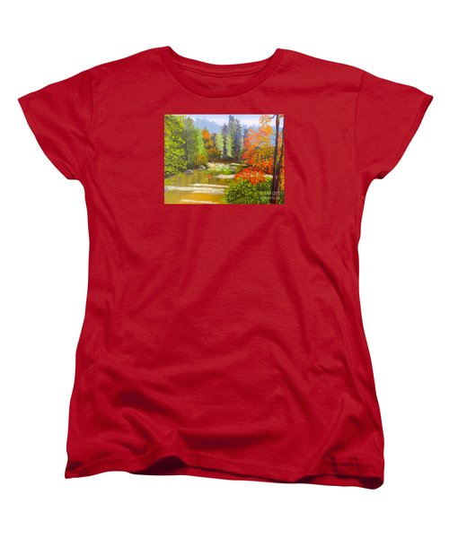 Women's T-Shirt (Standard Cut) featuring the painting Mountain Stream by Pamela  Meredith