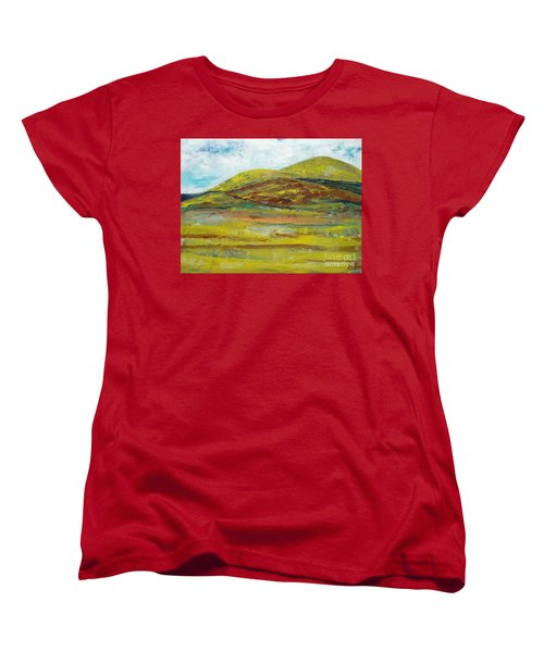 Women's T-Shirt (Standard Cut) featuring the painting Mountains  by Reina Resto