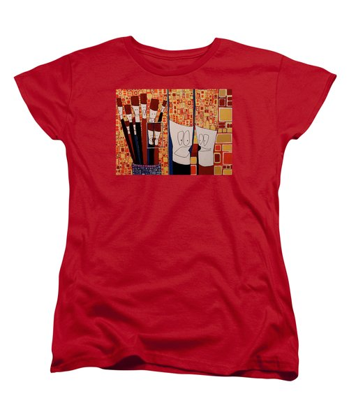Women's T-Shirt (Standard Cut) featuring the painting My Brushes Are Talking About Me by Donna Howard