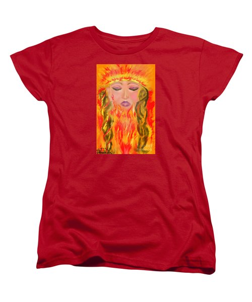 Women's T-Shirt (Standard Cut) featuring the painting My Burning Within by Lori  Lovetere