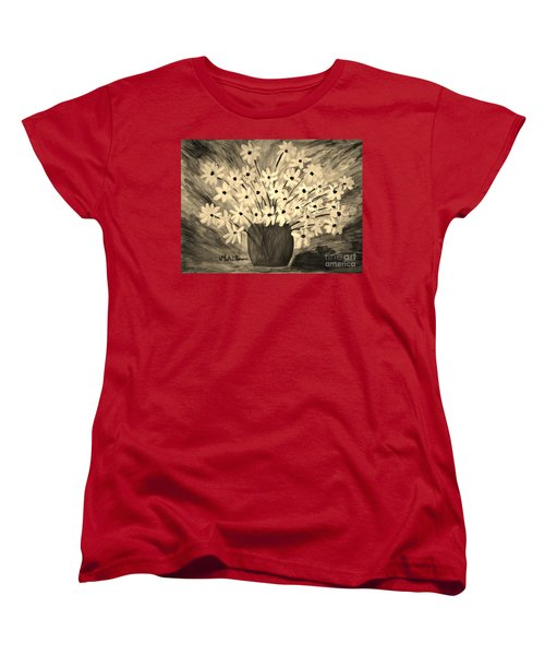 My Daisies Sepia Version Women's T-Shirt (Standard Cut) by Ramona Matei