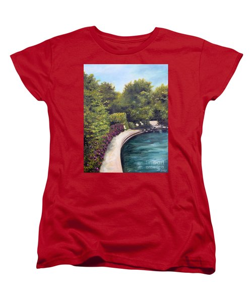 Women's T-Shirt (Standard Cut) featuring the painting Naperville Riverwalk II by Debbie Hart