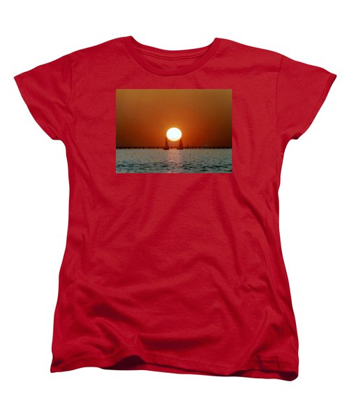 Women's T-Shirt (Standard Cut) featuring the photograph New Orleans Sailing Sun On Lake Pontchartrain by Michael Hoard