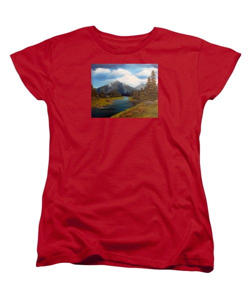 Women's T-Shirt (Standard Cut) featuring the painting No Electronics Here by Sheri Keith