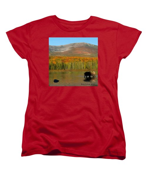 Women's T-Shirt (Standard Cut) featuring the painting Northwest Moose by Bruce Nutting