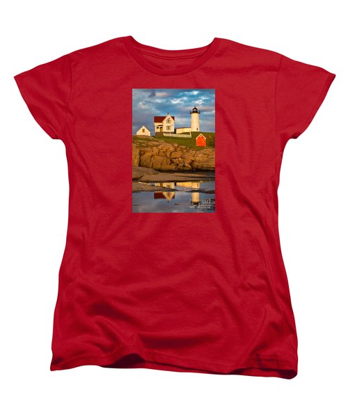 Nubble Lighthouse No 1 Women's T-Shirt (Standard Cut) by Jerry Fornarotto