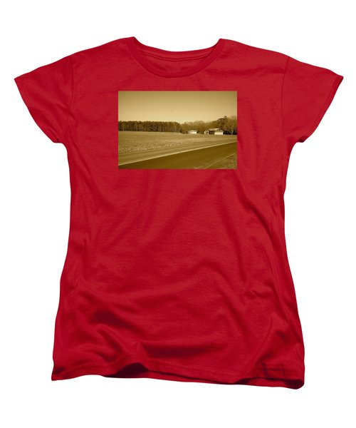 Old Barn And Farm Field In Sepia Women's T-Shirt (Standard Cut) by Amazing Photographs AKA Christian Wilson