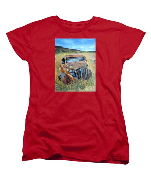 Women's T-Shirt (Standard Cut) featuring the painting Old Car by Jieming Wang