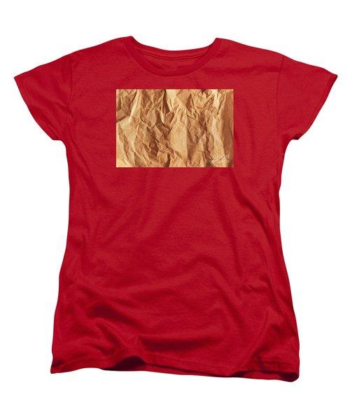 Old Grunge Creased Paper Texture. Retro Vintage Background Women's T-Shirt (Standard Cut) by Michal Bednarek