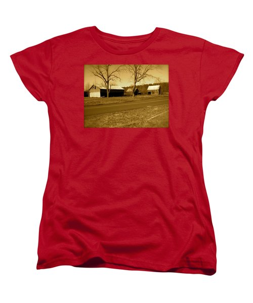 Old Red Barn In Sepia Women's T-Shirt (Standard Cut) by Amazing Photographs AKA Christian Wilson