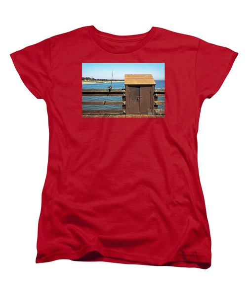 Women's T-Shirt (Standard Cut) featuring the photograph Old Shed On Ventura Pier by Susan Wiedmann