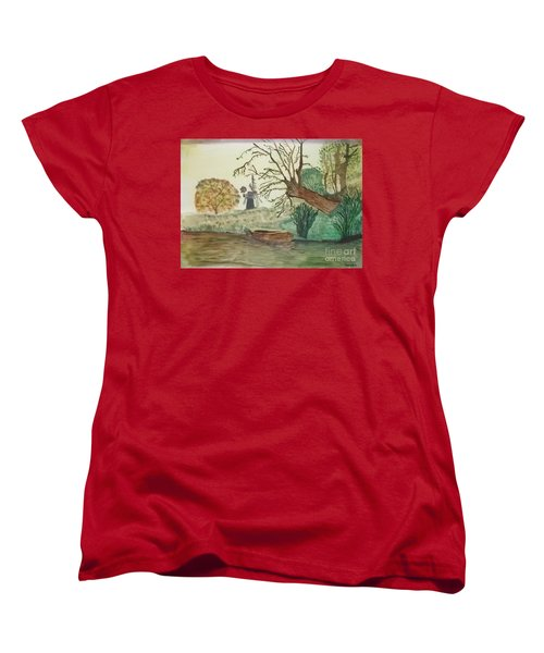 Old Willow And Boat Women's T-Shirt (Standard Cut) by Tracey Williams