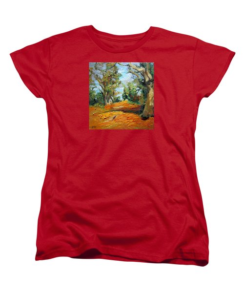 Women's T-Shirt (Standard Cut) featuring the painting On The Forest by Jieming Wang