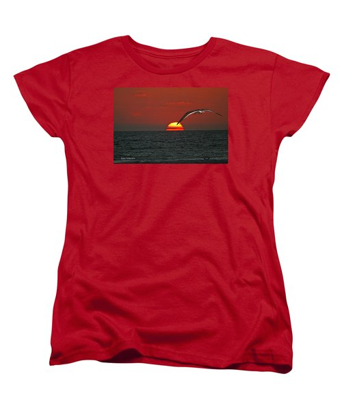 Women's T-Shirt (Standard Cut) featuring the photograph One Black Skimmers At Sunset by Tom Janca