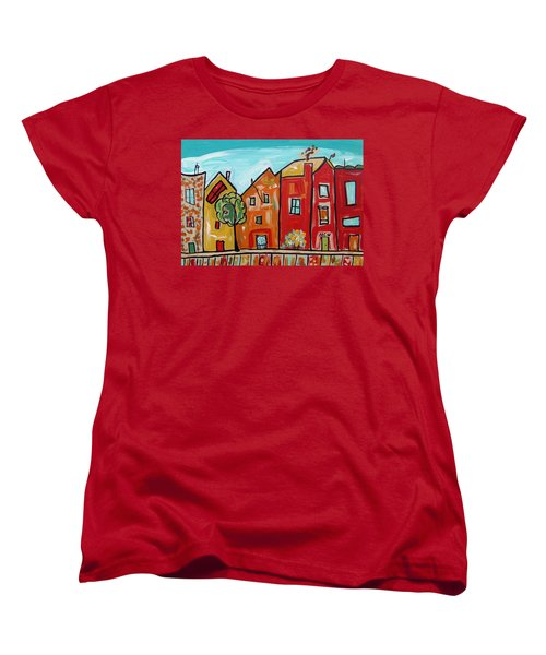 Women's T-Shirt (Standard Cut) featuring the painting One House Has A Screen Door by Mary Carol Williams
