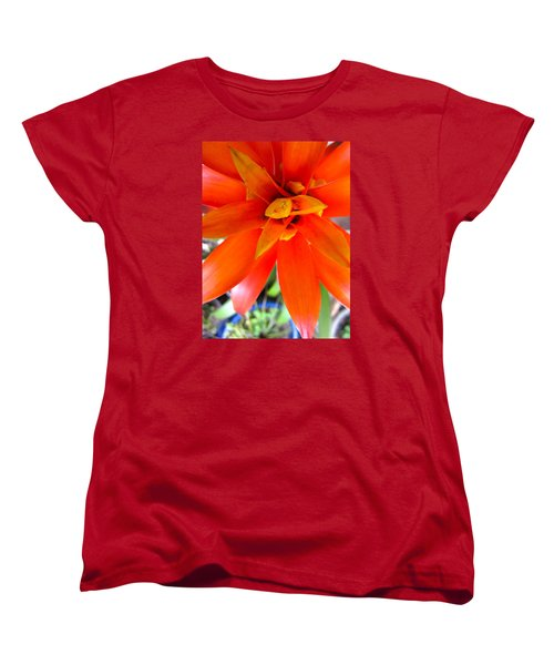 Orange Bromeliad Women's T-Shirt (Standard Cut) by Lehua Pekelo-Stearns