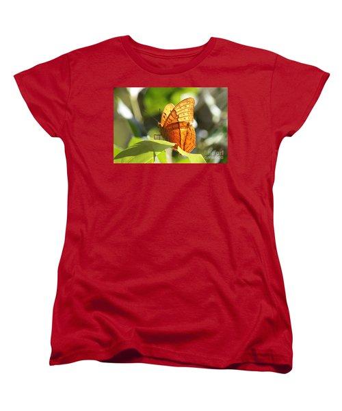 Orange Butterfly Women's T-Shirt (Standard Cut) by Jola Martysz