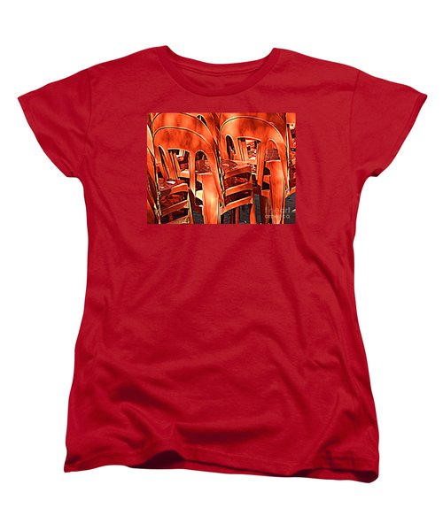 Orange Chairs Women's T-Shirt (Standard Cut) by Valerie Reeves
